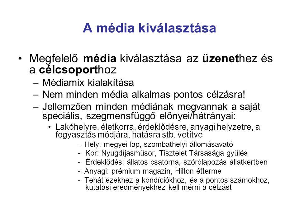 A média kiválasztása Megfelelő média kiválasztása az üzenethez és a célcsoporthoz –Médiamix kialakítása –Nem minden média alkalmas pontos célzásra! –J