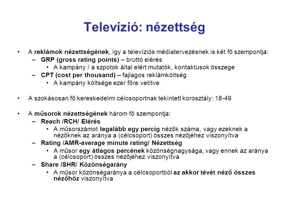 Televízió: nézettség A reklámok nézettségének, így a televíziós médiatervezésnek is két fő szempontja: –GRP (gross rating points) – bruttó elérés A ka