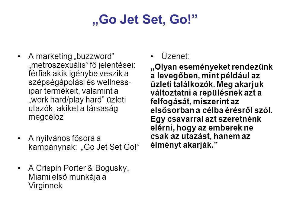 """""""Go Jet Set, Go! 2004 októberétől – továbblépés Célok: bevezetni és szóbeszédet gerjeszteni a Virgin Atlantic új prémium szolgáltatásának, az Upper Class Suite-nak Kiinduló helyzet: kevés figyelem övezte a céget és a termék nem tudta felvenni a versenyt a legnagyobb versenytársakéival Az ügynökség felismerte, hogy a Virginnek lehetősége van valamit visszahozni a repülés """"régi dicsőségéből egy egyedi fedélzeti élmény kitalálásával és a Virginhez kötésével A termék megvolt, de hogyan célozták az üzenetet?"""