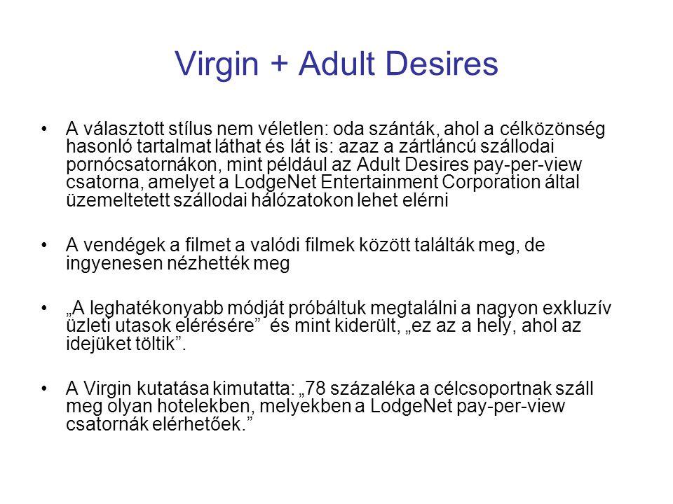 Virgin + Adult Desires A választott stílus nem véletlen: oda szánták, ahol a célközönség hasonló tartalmat láthat és lát is: azaz a zártláncú szálloda