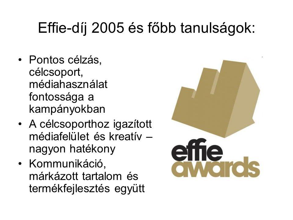 Effie-díj 2005 és főbb tanulságok: Pontos célzás, célcsoport, médiahasználat fontossága a kampányokban A célcsoporthoz igazított médiafelület és kreat
