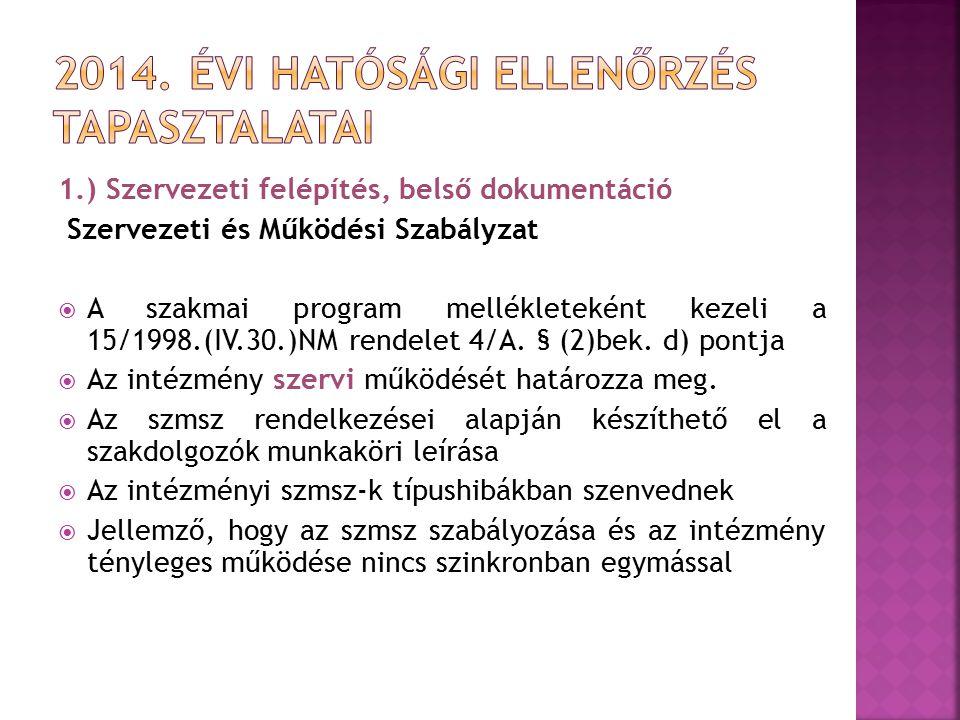 1.) Szervezeti felépítés, belső dokumentáció Szervezeti és Működési Szabályzat  A szakmai program mellékleteként kezeli a 15/1998.(IV.30.)NM rendelet
