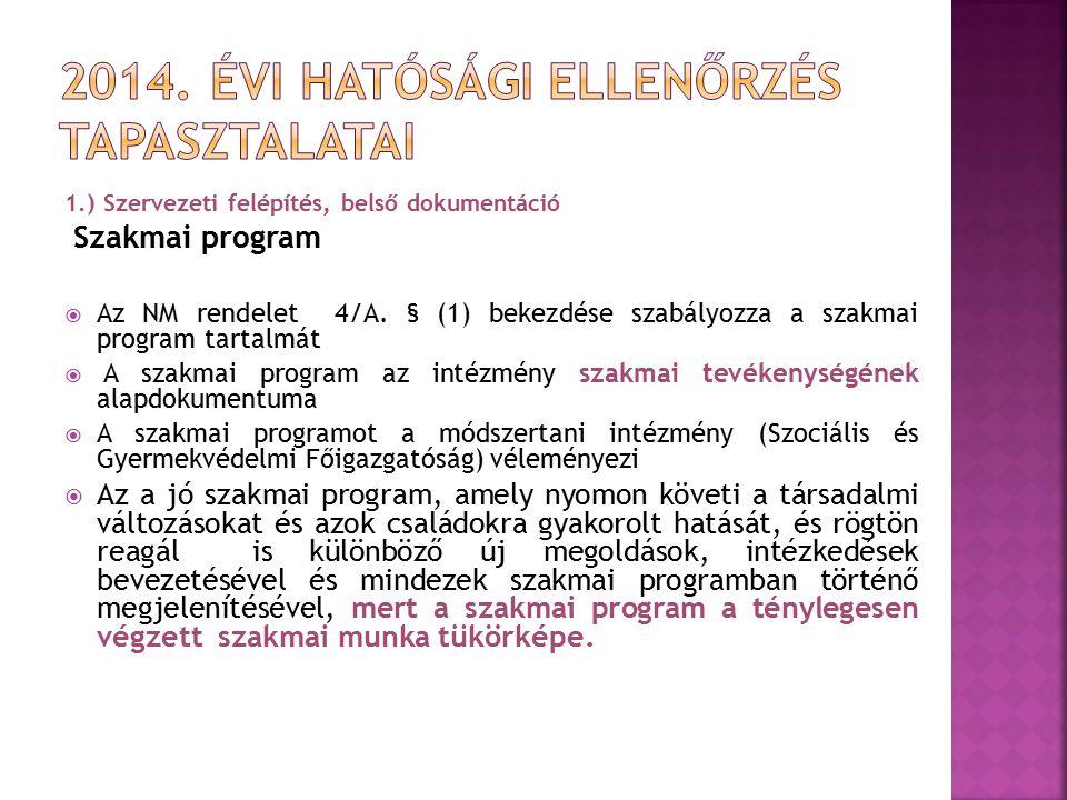 1.) Szervezeti felépítés, belső dokumentáció Szakmai program  Az NM rendelet 4/A. § (1) bekezdése szabályozza a szakmai program tartalmát  A szakmai