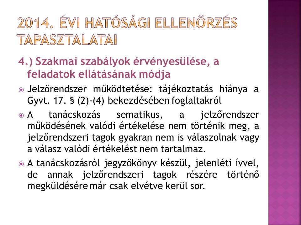 4.) Szakmai szabályok érvényesülése, a feladatok ellátásának módja  Jelzőrendszer működtetése: tájékoztatás hiánya a Gyvt. 17. § (2)-(4) bekezdésében