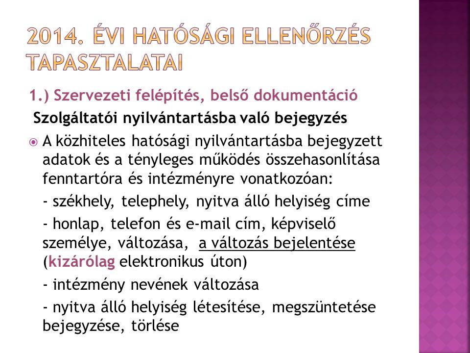 1.) Szervezeti felépítés, belső dokumentáció Szolgáltatói nyilvántartásba való bejegyzés  A közhiteles hatósági nyilvántartásba bejegyzett adatok és