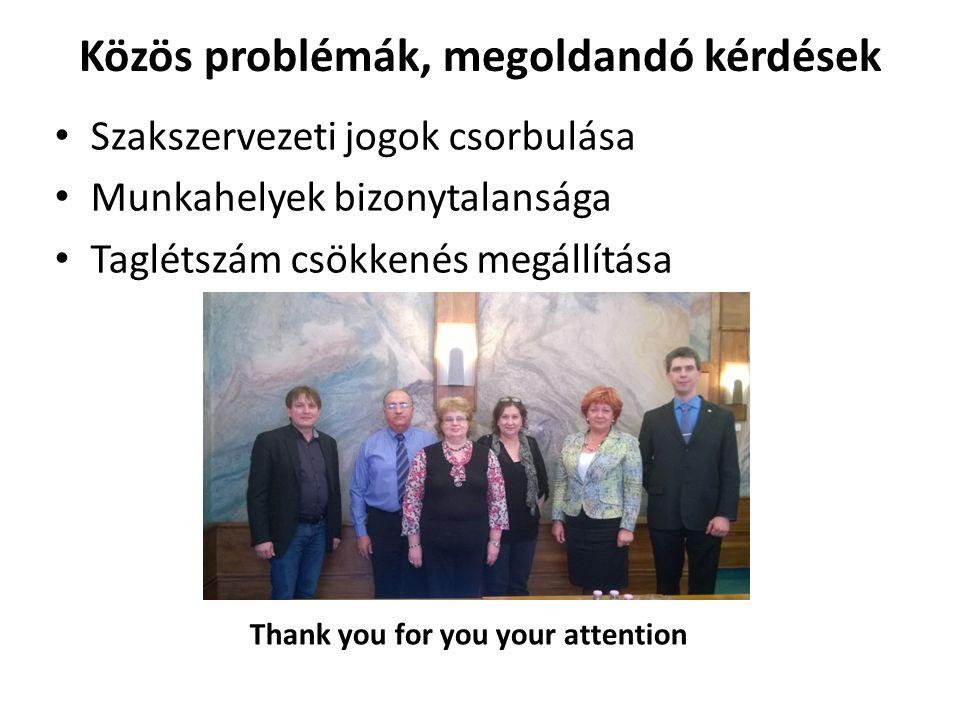 Közös problémák, megoldandó kérdések Szakszervezeti jogok csorbulása Munkahelyek bizonytalansága Taglétszám csökkenés megállítása Thank you for you your attention