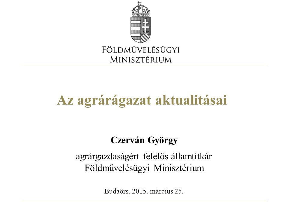 Hazai piaci árak alakulása hosszútávon - Magyarországi búza és kukorica piaci árak (HUF/t) 12 Forrás: AKI
