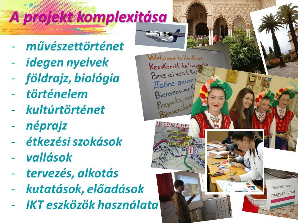 A projekt komplexitása A projekt komplexitása -művészettörténet -idegen nyelvek -földrajz, biológia -történelem -kultúrtörténet -néprajz -étkezési szokások -vallások -tervezés, alkotás -kutatások, előadások -IKT eszközök használata