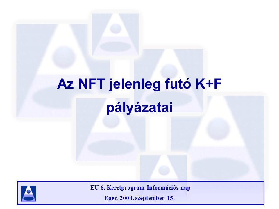 EU 6. Keretprogram Információs nap Eger, 2004. szeptember 15. Az NFT jelenleg futó K+F pályázatai