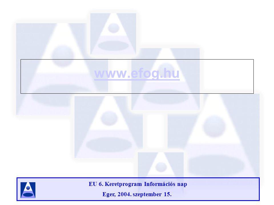EU 6. Keretprogram Információs nap Eger, 2004. szeptember 15. www.efog.hu