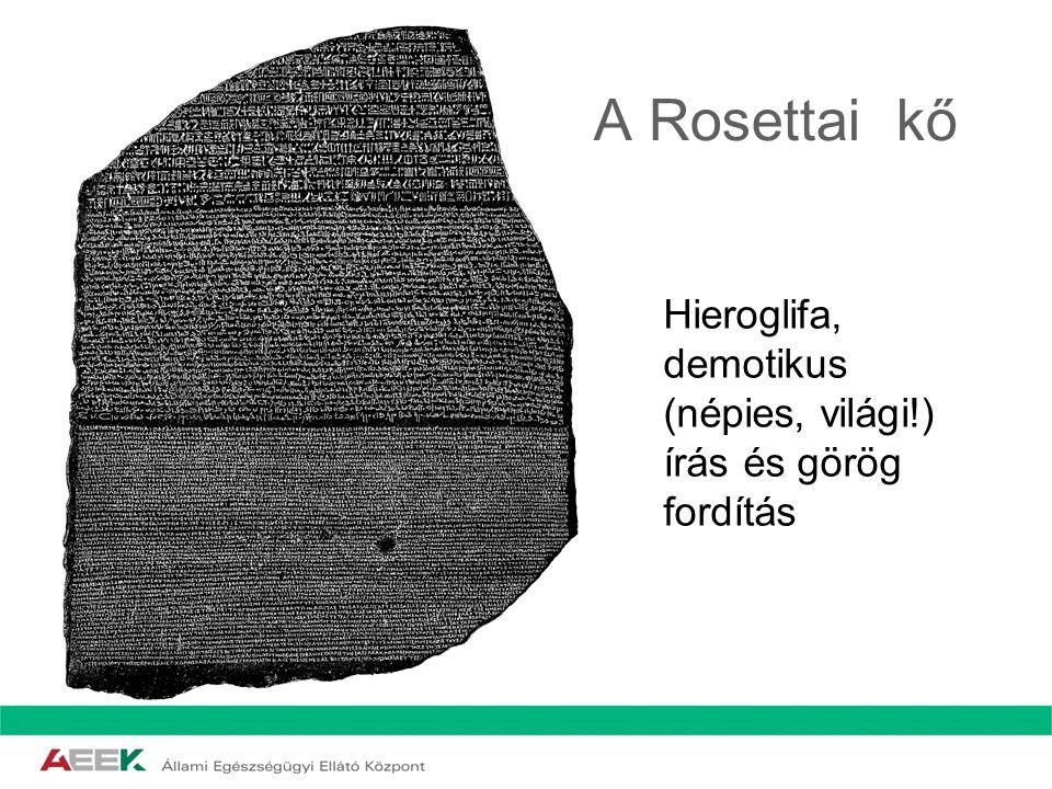 A Rosettai kő Hieroglifa, demotikus (népies, világi!) írás és görög fordítás