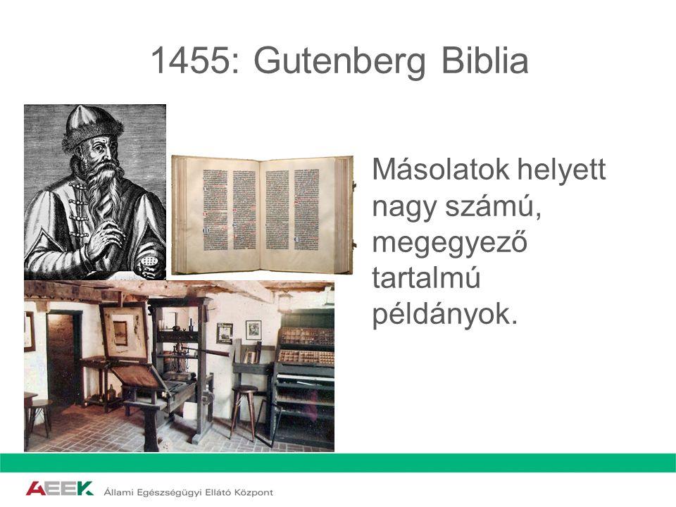 1455: Gutenberg Biblia Másolatok helyett nagy számú, megegyező tartalmú példányok.