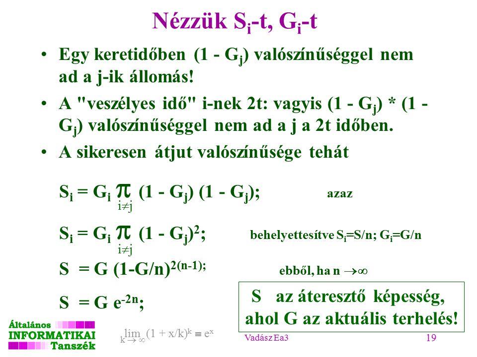 Vadász Ea3 19 lim (1 + x/k) k  e x k   Nézzük S i -t, G i -t Egy keretidőben (1 - G j ) valószínűséggel nem ad a j-ik állomás.