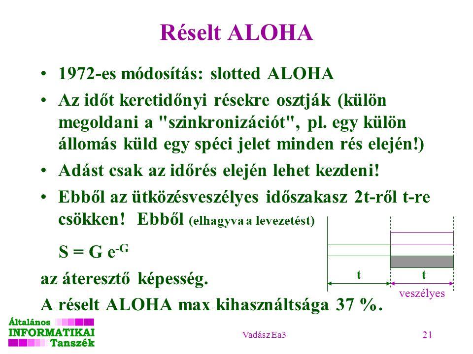 Vadász Ea3 21 Réselt ALOHA 1972-es módosítás: slotted ALOHA Az időt keretidőnyi résekre osztják (külön megoldani a szinkronizációt , pl.