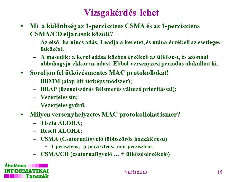 Vadász Ea3 45 Vizsgakérdés lehet Mi a különbség az 1-perzisztens CSMA és az 1-perzisztens CSMA/CD eljárások között.