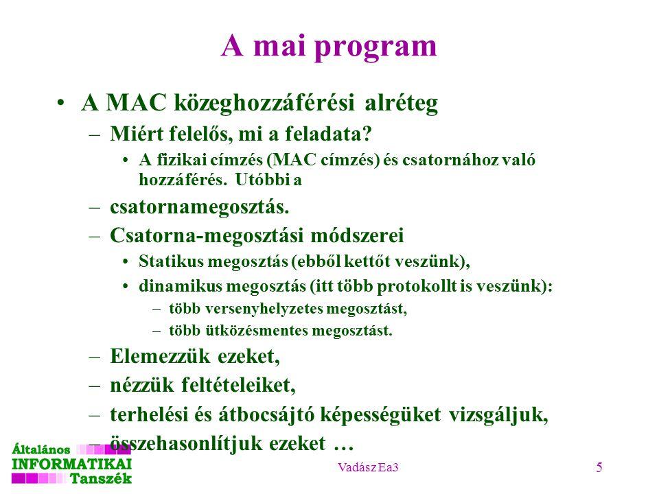 Vadász Ea3 5 A mai program A MAC közeghozzáférési alréteg –Miért felelős, mi a feladata.