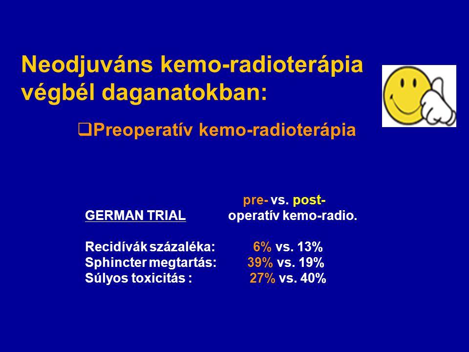 Preoperatív kemo-radioterápia pre- vs. post- GERMAN TRIAL operatív kemo-radio. Recidívák százaléka: 6% vs. 13% Sphincter megtartás: 39% vs. 19% Súly