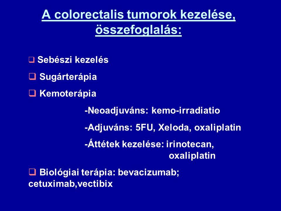 A colorectalis tumorok kezelése, összefoglalás:  Sebészi kezelés  Sugárterápia  Kemoterápia -Neoadjuváns: kemo-irradiatio -Adjuváns: 5FU, Xeloda, o
