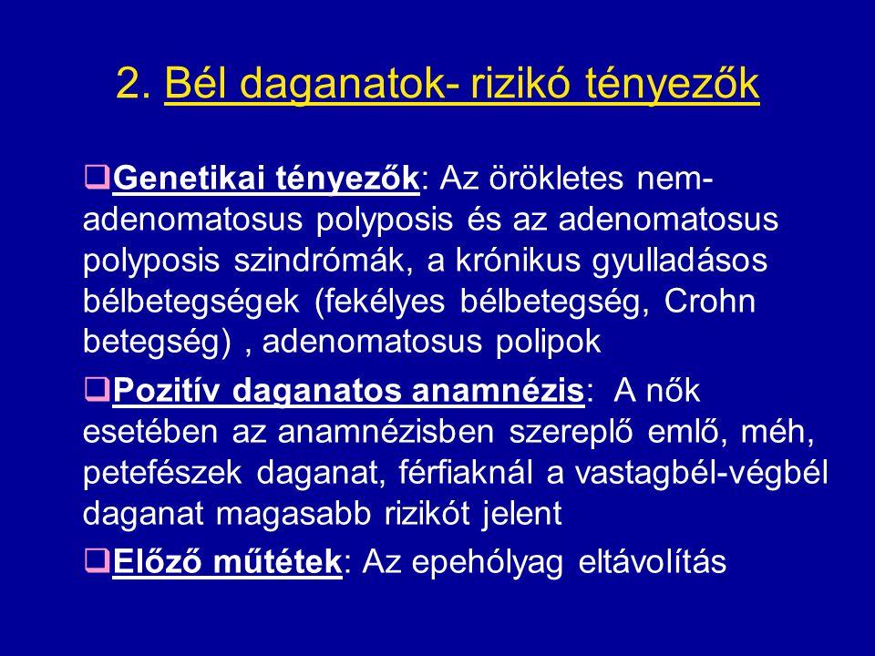 2. Bél daganatok- rizikó tényezők  Genetikai tényezők: Az örökletes nem- adenomatosus polyposis és az adenomatosus polyposis szindrómák, a krónikus g