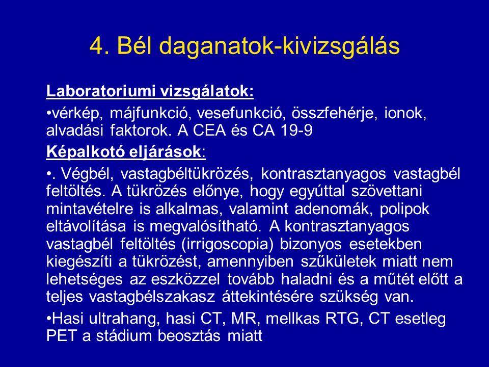 4. Bél daganatok-kivizsgálás Laboratoriumi vizsgálatok: vérkép, májfunkció, vesefunkció, összfehérje, ionok, alvadási faktorok. A CEA és CA 19-9 Képal
