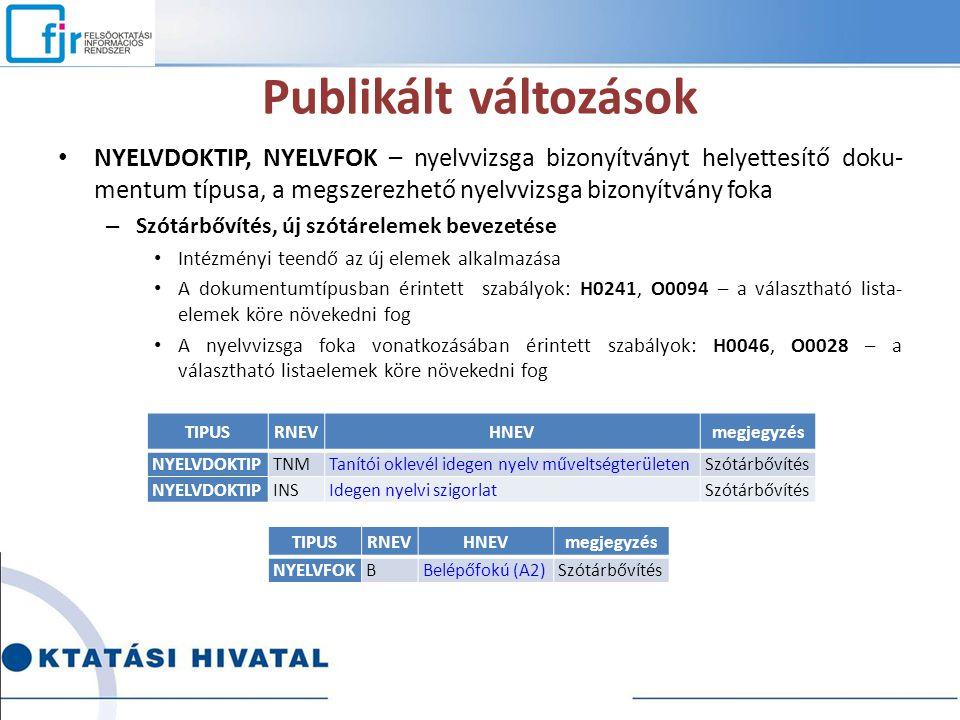 Publikált változások NYELVDOKTIP, NYELVFOK – nyelvvizsga bizonyítványt helyettesítő doku- mentum típusa, a megszerezhető nyelvvizsga bizonyítvány foka