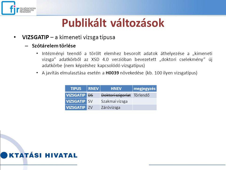 """Publikált változások VIZSGATIP – a kimeneti vizsga típusa – Szótárelem törlése Intézményi teendő a törölt elemhez besorolt adatok áthelyezése a """"kimen"""