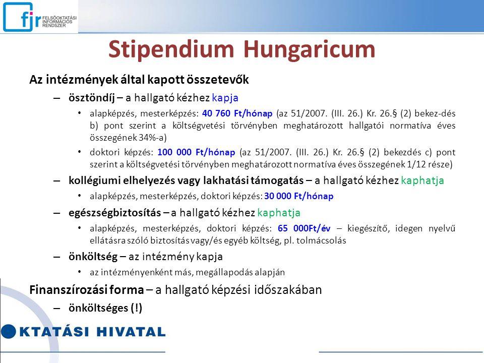 Stipendium Hungaricum Az intézmények által kapott összetevők – ösztöndíj – a hallgató kézhez kapja alapképzés, mesterképzés: 40 760 Ft/hónap (az 51/20
