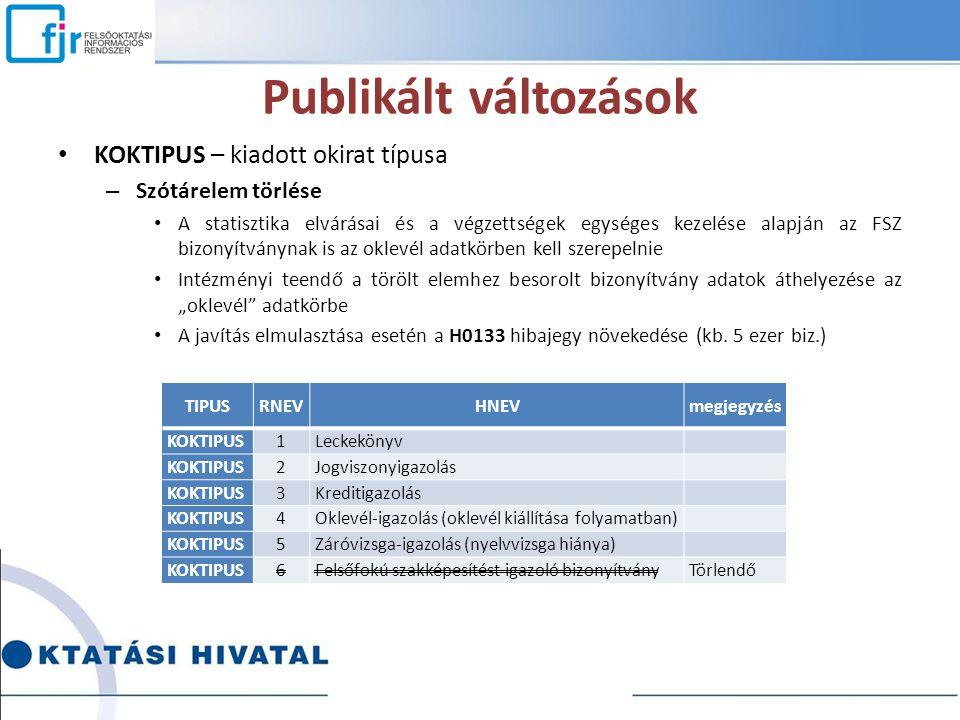 Publikált változások KOKTIPUS – kiadott okirat típusa – Szótárelem törlése A statisztika elvárásai és a végzettségek egységes kezelése alapján az FSZ