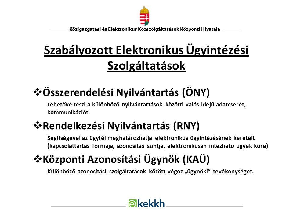 Közigazgatási és Elektronikus Közszolgáltatások Központi Hivatala Szabályozott Elektronikus Ügyintézési Szolgáltatások  Összerendelési Nyilvántartás