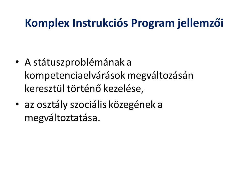Komplex Instrukciós Program jellemzői A státuszproblémának a kompetenciaelvárások megváltozásán keresztül történő kezelése, az osztály szociális közeg