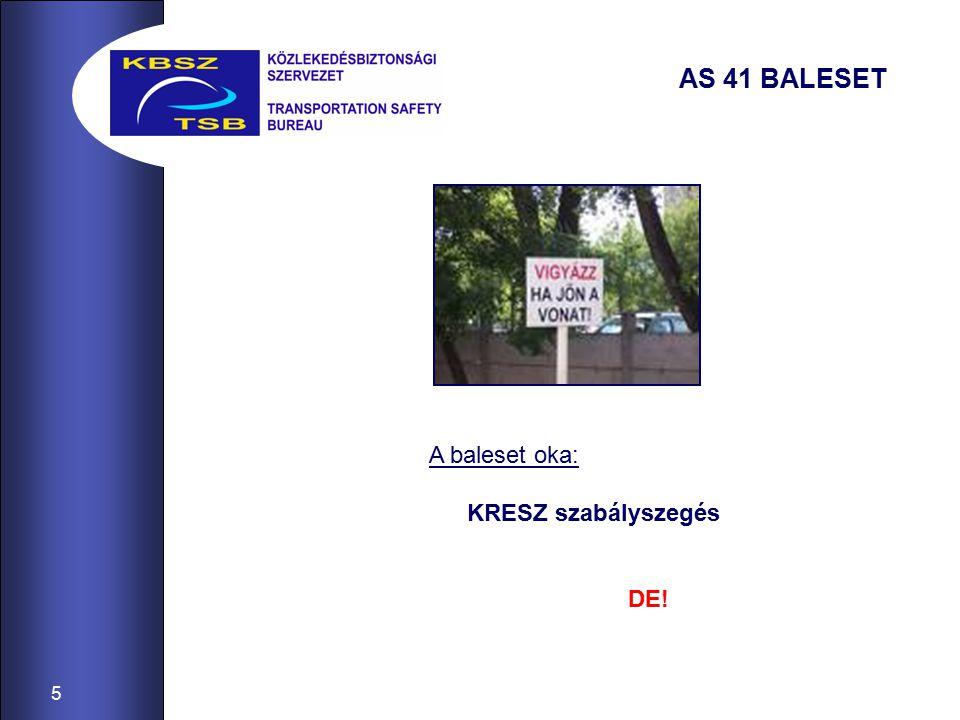 5 AS 41 BALESET A baleset oka: KRESZ szabályszegés DE!