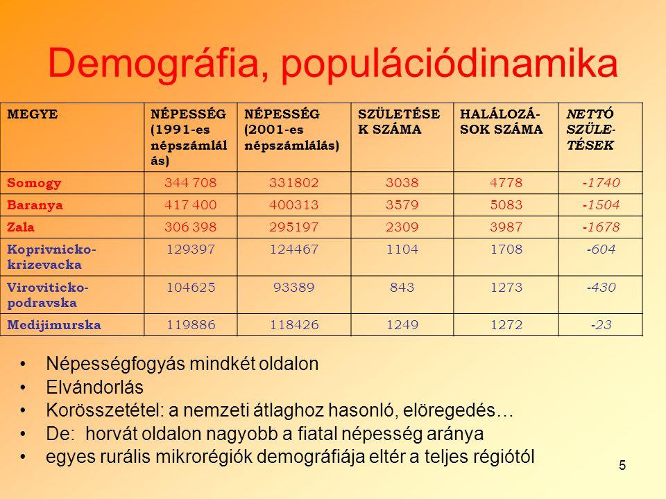 5 Demográfia, populációdinamika MEGYENÉPESSÉG (1991-es népszámlál ás) NÉPESSÉG (2001-es népszámlálás) SZÜLETÉSE K SZÁMA HALÁLOZÁ- SOK SZÁMA NETTÓ SZÜL