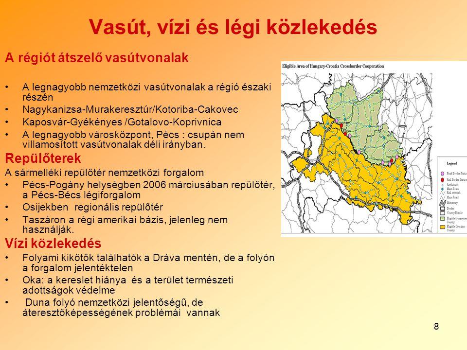 8 Vasút, vízi és légi közlekedés A régiót átszelő vasútvonalak A legnagyobb nemzetközi vasútvonalak a régió északi részén Nagykanizsa-Murakeresztúr/Ko