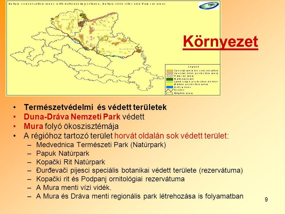 9 Természetvédelmi és védett területek Duna-Dráva Nemzeti Park védett Mura folyó ökoszisztémája A régióhoz tartozó terület horvát oldalán sok védett t