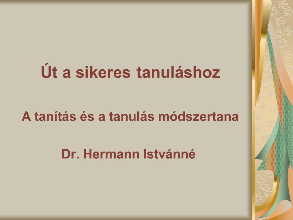 Út a sikeres tanuláshoz A tanítás és a tanulás módszertana Dr. Hermann Istvánné