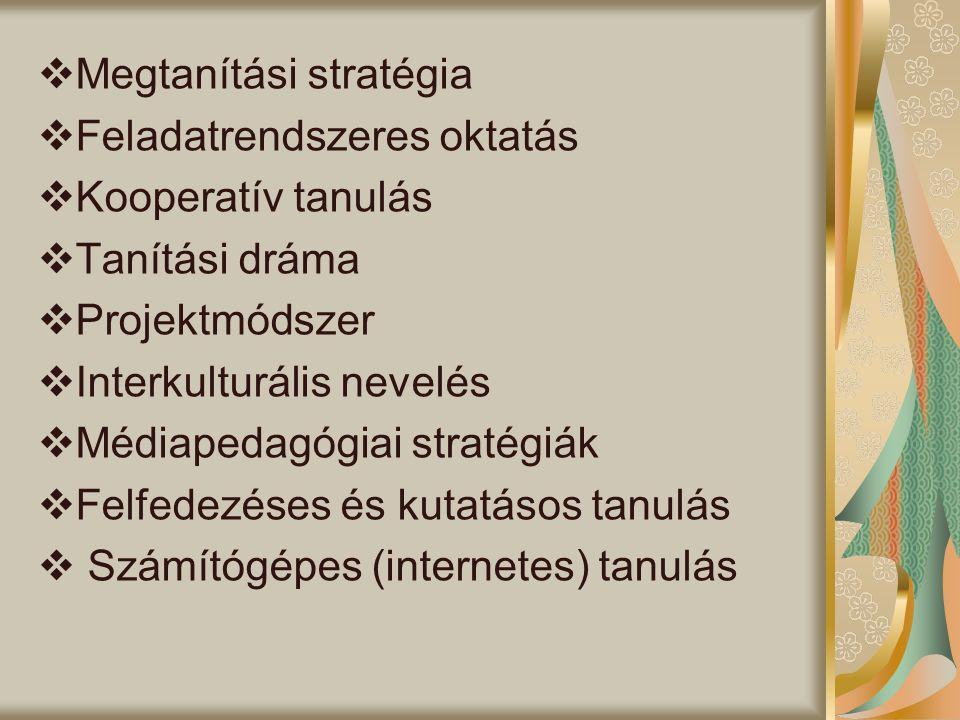  Megtanítási stratégia  Feladatrendszeres oktatás  Kooperatív tanulás  Tanítási dráma  Projektmódszer  Interkulturális nevelés  Médiapedagógiai