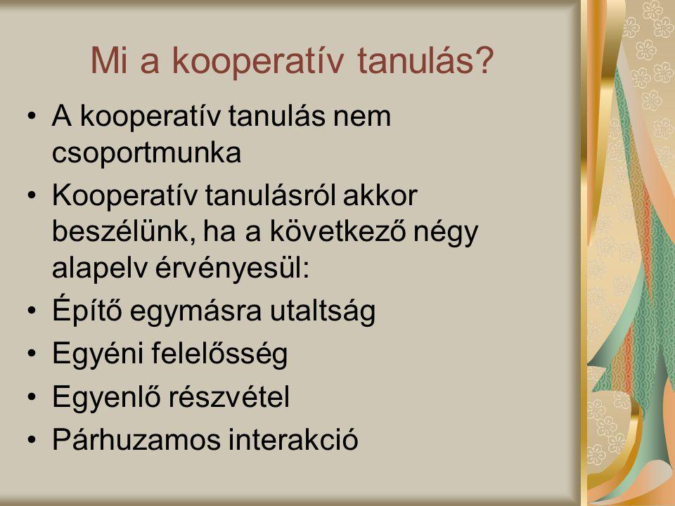 Mi a kooperatív tanulás? A kooperatív tanulás nem csoportmunka Kooperatív tanulásról akkor beszélünk, ha a következő négy alapelv érvényesül: Építő eg