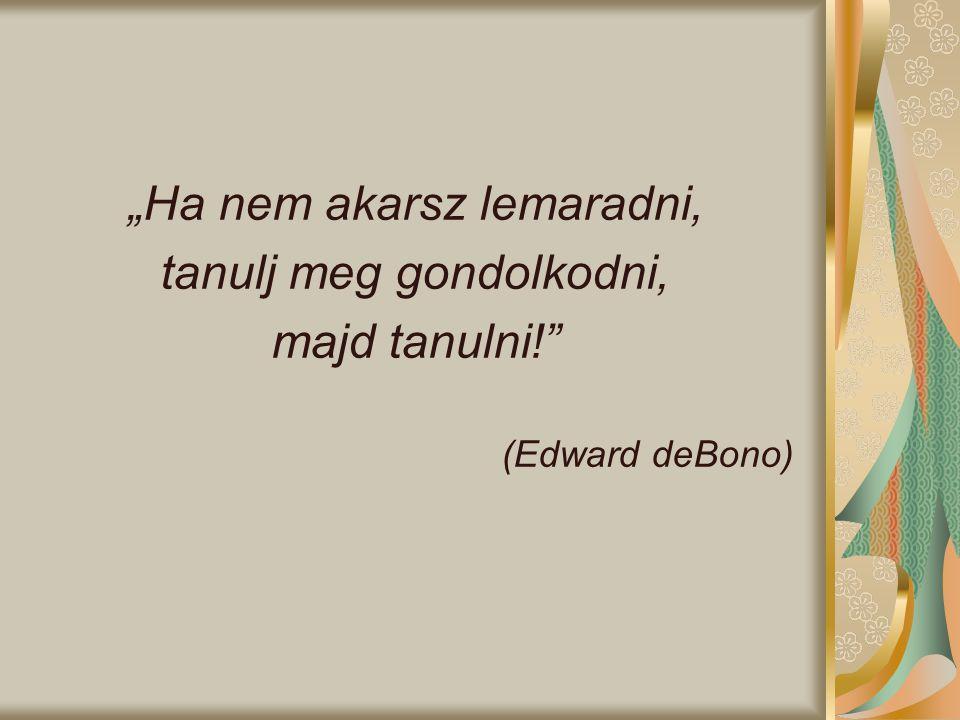 """Ha nem akarsz lemaradni, tanulj meg gondolkodni, majd tanulni!"" (Edward deBono)"