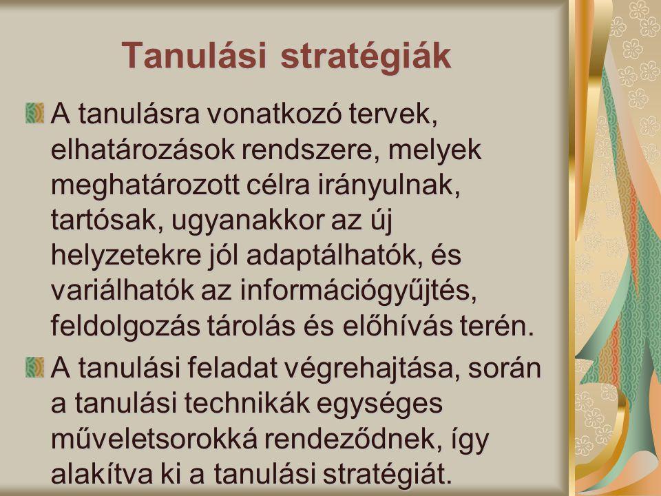 Tanulási stratégiák A tanulásra vonatkozó tervek, elhatározások rendszere, melyek meghatározott célra irányulnak, tartósak, ugyanakkor az új helyzetek