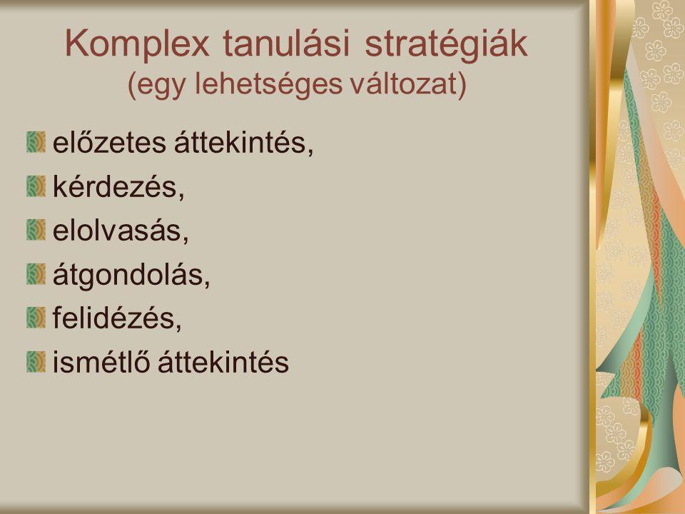 Komplex tanulási stratégiák (egy lehetséges változat) előzetes áttekintés, kérdezés, elolvasás, átgondolás, felidézés, ismétlő áttekintés