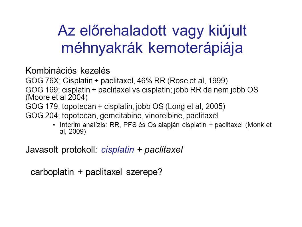 Az előrehaladott vagy kiújult méhnyakrák kemoterápiája Kombinációs kezelés GOG 76X; Cisplatin + paclitaxel, 46% RR (Rose et al, 1999) GOG 169; cisplat