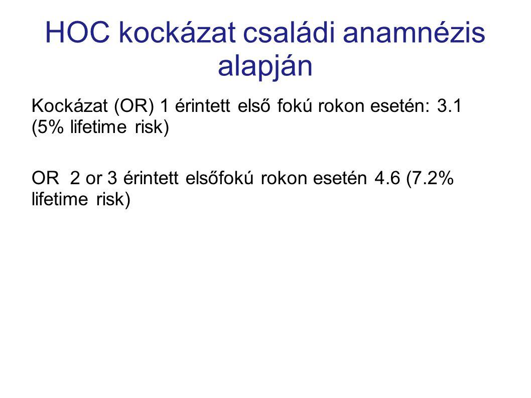 HOC kockázat családi anamnézis alapján Kockázat (OR) 1 érintett első fokú rokon esetén: 3.1 (5% lifetime risk) OR 2 or 3 érintett elsőfokú rokon eseté