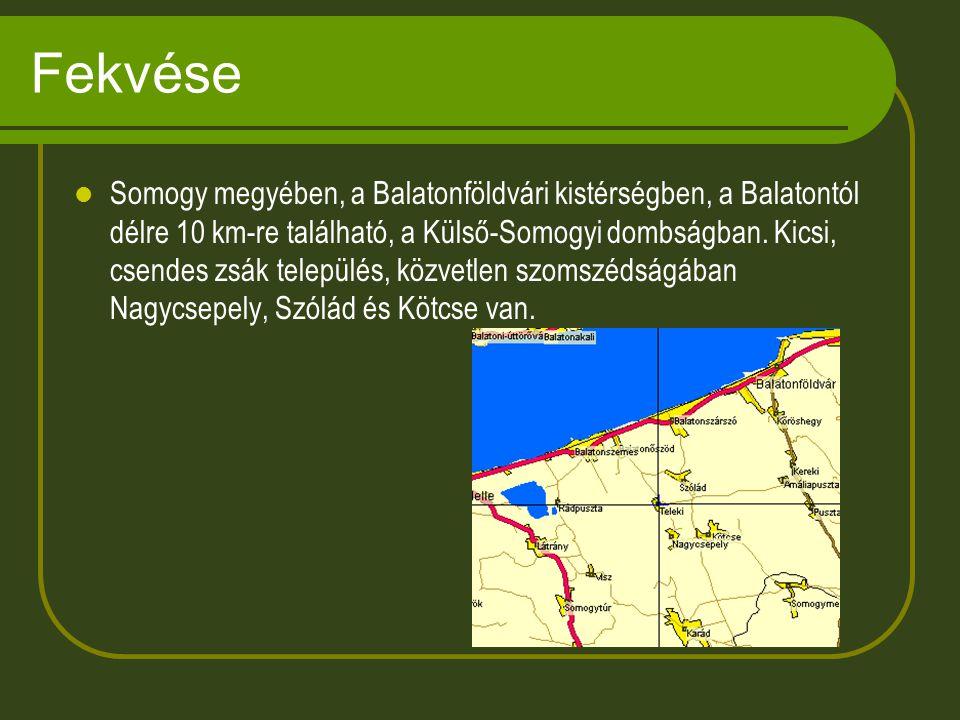 Fekvése Somogy megyében, a Balatonföldvári kistérségben, a Balatontól délre 10 km-re található, a Külső-Somogyi dombságban.