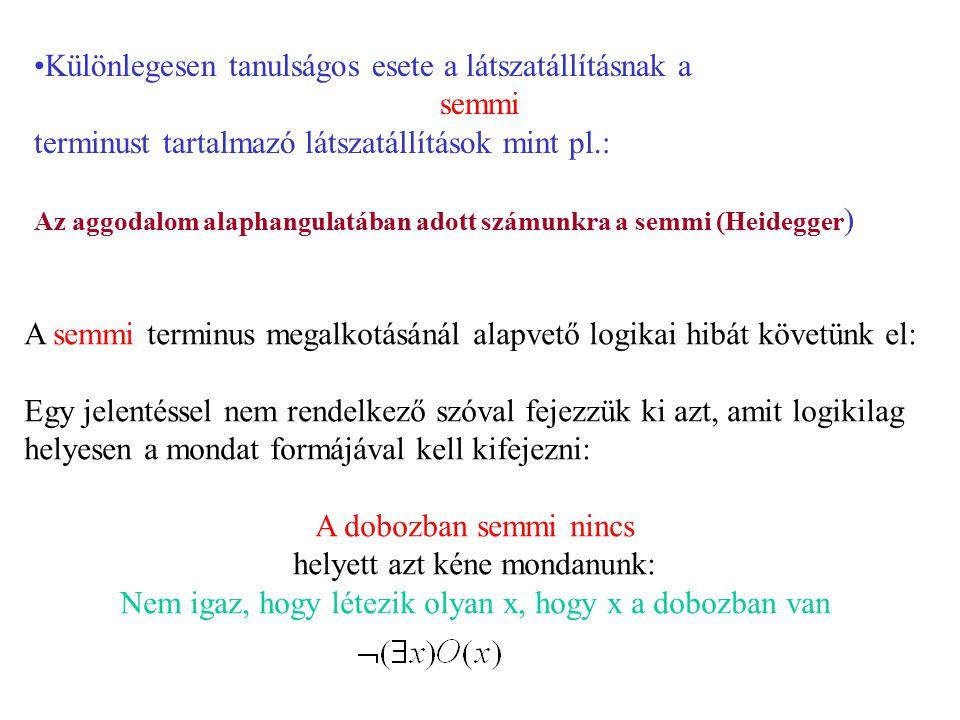 Különlegesen tanulságos esete a látszatállításnak a semmi terminust tartalmazó látszatállítások mint pl.: Az aggodalom alaphangulatában adott számunkr