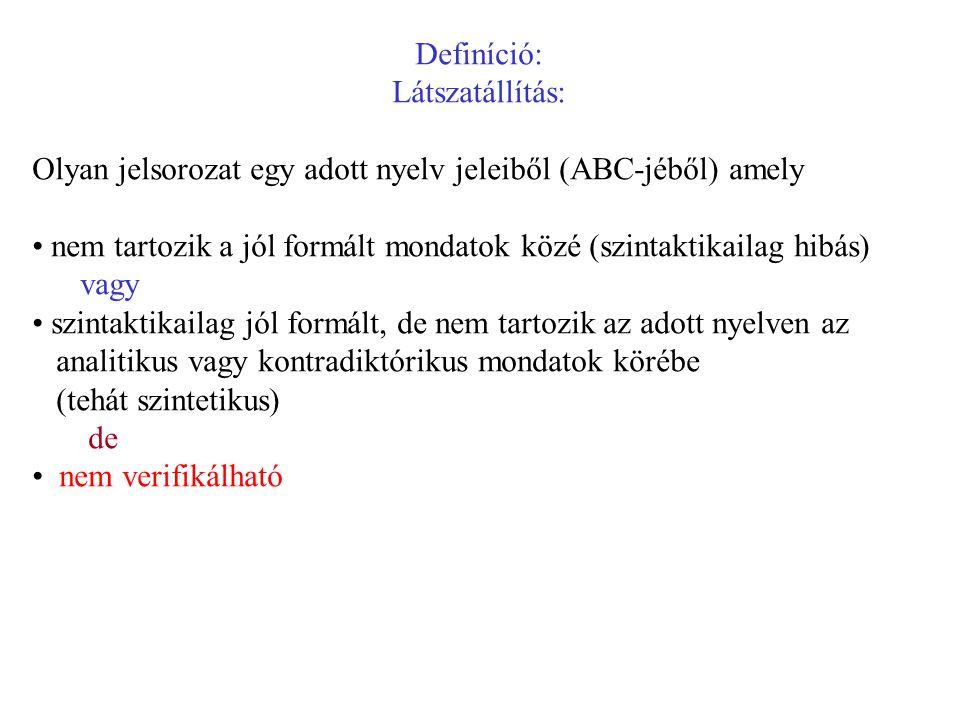 Definíció: Látszatállítás: Olyan jelsorozat egy adott nyelv jeleiből (ABC-jéből) amely nem tartozik a jól formált mondatok közé (szintaktikailag hibás