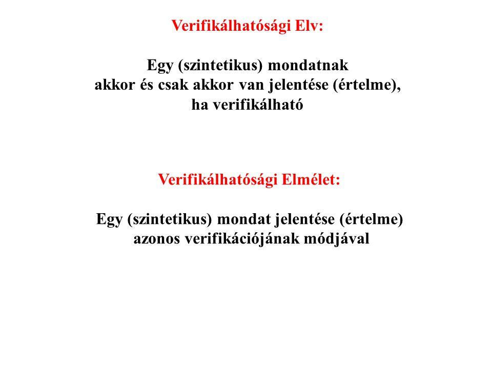 Verifikálhatósági Elv: Egy (szintetikus) mondatnak akkor és csak akkor van jelentése (értelme), ha verifikálható Verifikálhatósági Elmélet: Egy (szint