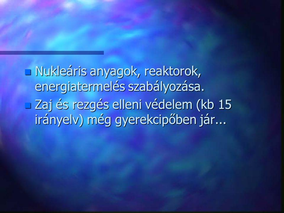 n Nukleáris anyagok, reaktorok, energiatermelés szabályozása. n Zaj és rezgés elleni védelem (kb 15 irányelv) még gyerekcipőben jár...