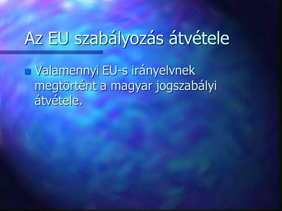 Az EU szabályozás átvétele n Valamennyi EU-s irányelvnek megtörtént a magyar jogszabályi átvétele.