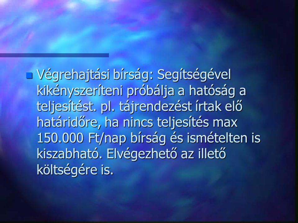 n Végrehajtási bírság: Segítségével kikényszeríteni próbálja a hatóság a teljesítést. pl. tájrendezést írtak elő határidőre, ha nincs teljesítés max 1