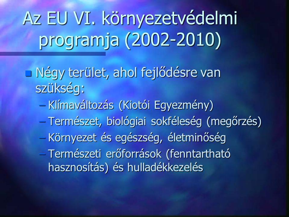 Az EU VI. környezetvédelmi programja (2002-2010) n Négy terület, ahol fejlődésre van szükség: –Klímaváltozás (Kiotói Egyezmény) –Természet, biológiai